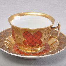 Meissen gotische Tasse Prunktasse, Gittermuster, rot & gold, um 1850, selten