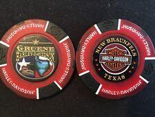 "Harley Poker Chip Golf Ball Marker (Red/Black F/C) ""Gruene"" New Braunfels TX"