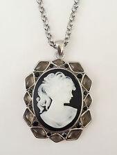 New Vintage Style Lady Cameo Mocha Black Floral Oval Charm Chain Necklace NE1392