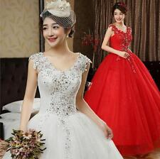 Ivory/Red Beaded Lace Slim Princess Bride's Wedding Dresses Bridal Ball Gowns