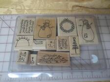 2000  Stampin Up Thanks Snow Much 12 pc Christmas Winter Snowma Snow Man set