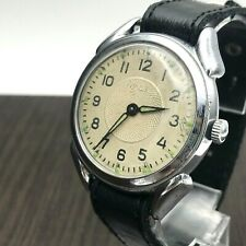 1957 Retro Wristwatch MOLNIJA Ural Rare Guilloche Big Dial USSR Luminous Men's