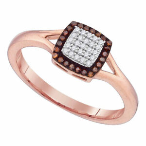 10kt Rose Gold Womens Round Red Color Enhanced Diamond Square Ring 1/8 Cttw