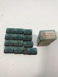 Vintage Ideal Split Shot Dealer Box  Size B   Lead Sinker Tins  -  12 TINS NOS