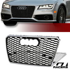 2012-2014 Audi A7 C7 Blk/Chrome Rs-Type Honeycomb Mesh Front Bumper Grill Grille