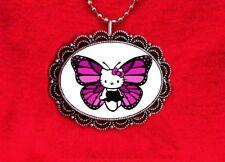 HELLO KITTY BUTTERFLY PINK FUSCHIA PURPLE CAT KAWAII PENDANT NECKLACE