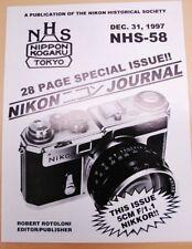 Nikon Historical Society Journal 1997: Nikkor-N 5cm f1.1