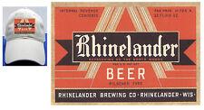 RHINELANDER BEER LABEL BALL CAP WISCONSIN