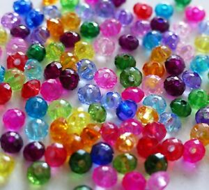 100x Mixed Color Rondelle Faceted Acrylic 6mm Plastic Translucent Spacer Beads