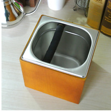Coffee Knock Box Stainless Steel Timber Box Barista Equipment Espresso Grinds