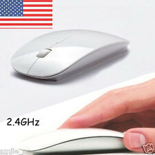 Slim 2.4Ghz Optical Wireless Magic Mouse USB Mice Fr Mac Laptop PC Desktop White