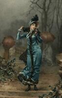 Fashion Illustration female beautiful blue fur coat 1888 Goupil color print