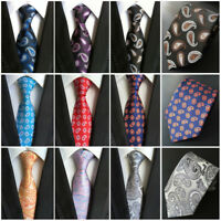 Mens Silk Paisley Ties Floral JACQUARD WOVEN Necktie Wedding Party Business Tie