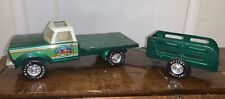 Vintage Nylint Corp. Farms Stake Truck & Trailer Green Pressed Steel 61108-5491