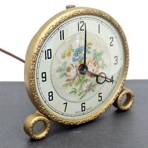 Vintage 1940 Metamec Alarm Clock Gold Gilded Bakelite Petit Point Works Electric
