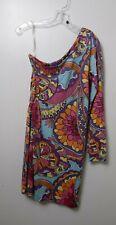 Lily Pulitzer WHITAKER one shoulder SUMMER DRESS size medium retro pattern silk