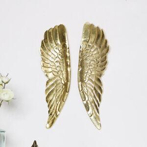 Pair of gold angel wings wall art display metallic painted metal ornament gift