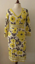 Womens BODEN Yellow & Gray Flower Print Knit Dress ~ US 6 / UK 10 (A30)