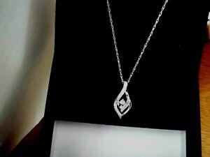 H Samuel Silver Diamond Flower Twist Pendant Necklace Hallmarked 925 DIA