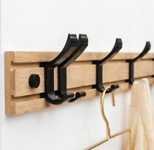 1 x Coat Rack Rail Hanger 5 Hooks/Bamboo/Clothes Hat Towel/Wall Door Mounted
