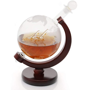 Globe Decanter with Wooden Stand & Steel Filter for Wine, Whiskey & Rum M&W