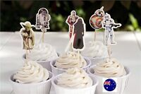 24P Star Wars birthday boy Party Cupcake Cakes Decorating Toppers Picks Flags