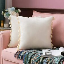MIULEE Pack of 2 Velvet Soft Solid Decorative Throw Pillow Cover with Tassels Fr