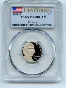 2021 S 5C Jefferson Nickel Birth Set PCGS PR70DCAM First Strike