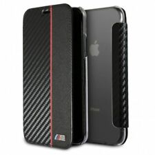 BMW CARBONO Estuche Funda para Apple iPhone x 5.8 Carcasa Libro PROTECTORA NEGRA