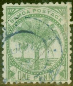 Samoa 1887 1d Yellow-Green SG27 P.12 x 11.5 Fine Used