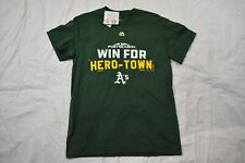 Majestic Mens MLB Oakland Athletics Win For Hero Town Tee Medium Green New