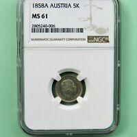1858A  Austria 5 Kreuzer, NGC MS 61, 1st Year Type KM #2197