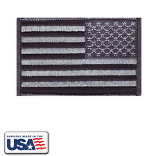American Flag Black & Grey Patch Embroidered Military Reversed - Made in USA