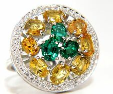 5.62CT NATURAL FANCY YELLOW SAPPHIRES VIVID GREEN EMERALDS CLUSTER RING+