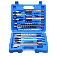 17pcs Rotary Hammer Drill Bits Chisels Kit SDS Plus Concrete Tool w/ Case