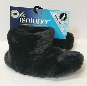 Isotoner size MD 6.5-7.5 Bootie Style Slipper, Black Faux Fur, Memory Foam, NWT