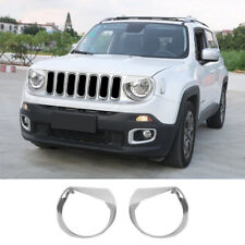 ABS Headlight Trim Angry Bird Head Lights Lamp Cover for Jeep Renegade 15+Chrome