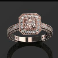 Vintage Solid 14K Rose Gold Natural Diamond Pink Morganite Wedding Accent Ring