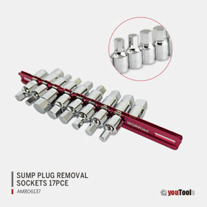 17 Pce 3/8″ Drive Oil Drain Key Set Sump Plug Removal Set Universal Car Gearbox