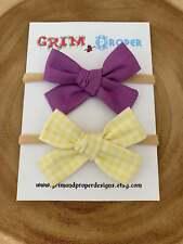 Nylon hair bow headband set hand tied newborn baby girls stretchy gingham purple