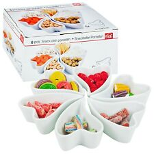 Set of 6 White Ceramic Porcelain Heart Shaped Snack Serving Bowl Dishes Trays