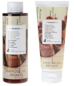 KORRES VANILLA CINNAMON SHOWER GEL 250ml / 8.456oz + BODY MILK 200ml / 6.76oz