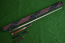 3/4 HANDMADE RENGAS WOOD ASH SNOOKER/POOL CUE SET WITH CASE EXTENSION