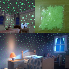 100Pcs Glow In The Dark 3D Stars Moon Stickers Bedroom Home Wall Room Decor DIY