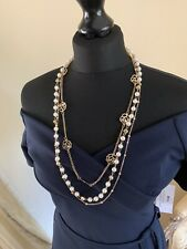 BNWT LONG PEARL with GOLD CHAIN & CAMELIA LAYERING COUTURE NECKLACE
