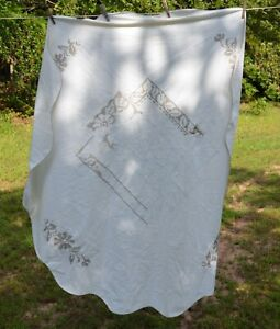 Vtg Cross Stitch Hand Embroidered  Tablecloth scalloped round SPOTS unfinished