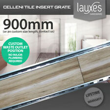900mm LAUXES Cellini Aluminium Silver Slimline Tile Insert Floor Drain Waste