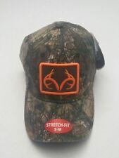 Realtree Xtra Men's Camo Orange/Brown Logo Patch Stretch Fitted Hat Size S/M