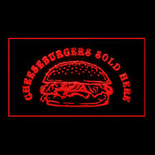 110264 Cheeseburger Sold Here French Fries Lettuce Display LED Light Sign