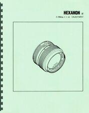 Konica Hexanon AR 50mm F1.4 Lens Service & Repair Manual Reprint